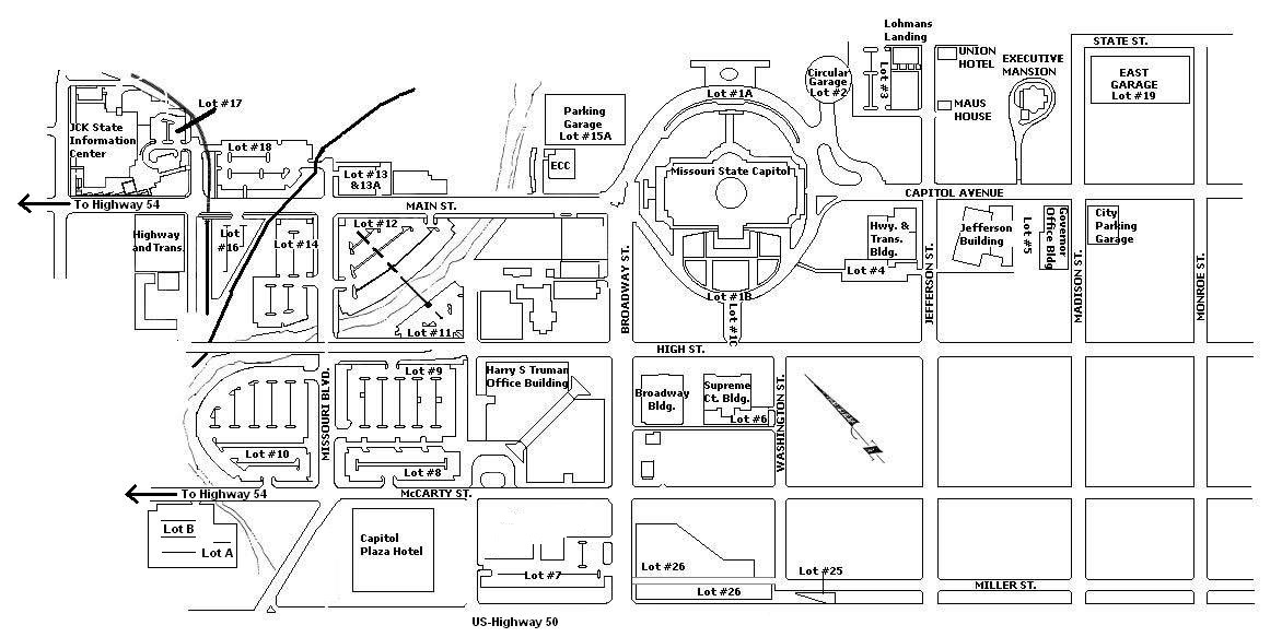 Capitol Complex Parking Map Missouri Office Of Administration - Map of us capitol grounds